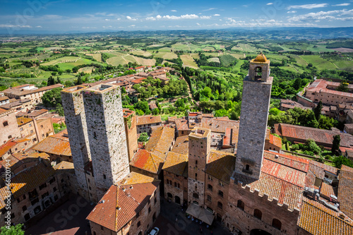 Poster Marron chocolat View of the city San Gimignano, Italy