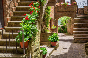 Fototapeta Uliczki Old town full of flowery porches in Tuscany