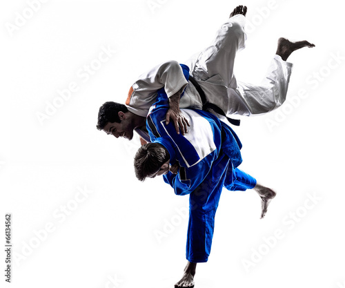 Foto auf Leinwand Kampfsport judokas fighters fighting men silhouette