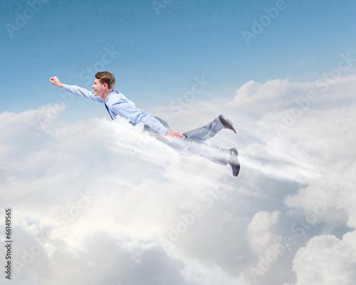 Garden Poster Martial arts Flying businessman