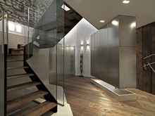 Modern Entrance With Staircase...