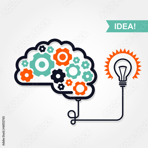 Business idea or invention icon -  brain Poster