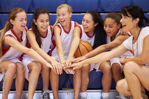 Coach Of Female High School Basketball Team Gives Team Talk Poster