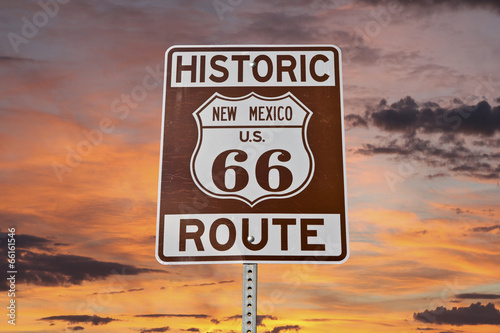 Papiers peints Route 66 Old Route 66 New Mexico Sign With Sunset Sky