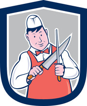 Butcher Sharpening Knife Cartoon