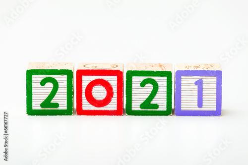 Fotografia  Wooden block for year 2021