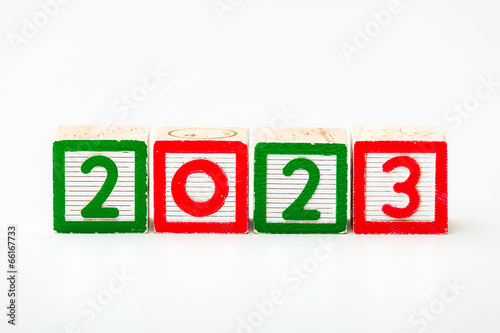 Poster  Wooden block for year 2023