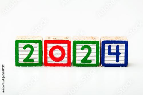 Fotografia  Wooden block for year 2024