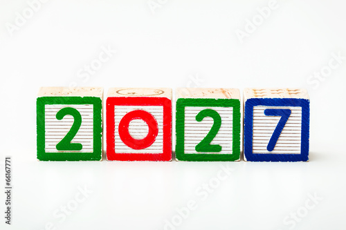 Fotografia  Wooden block for year 2027