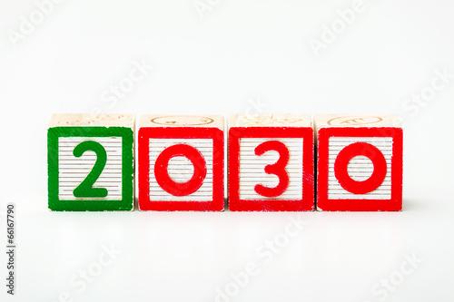 Fotografia  Wooden block for year 2030