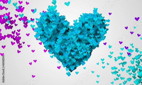 Blue Love Particles Heart Shape 3D
