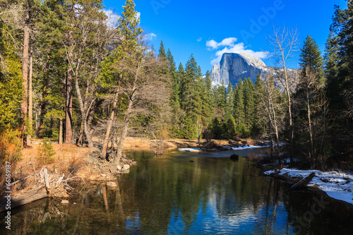 Poster de jardin Reflexion Half Dome Reflection in Yosemite