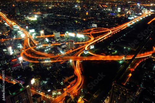 Bangkok Expressway and Highway top view, Thailand Poster