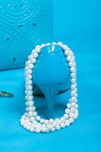Beautiful Blue Shoes And Handbag, Pearls