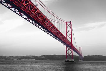 Fototapeta Mosty Red Bridge on a monochromatic background