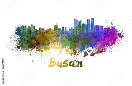 Busan skyline in watercolor плакат