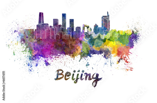 Foto auf AluDibond Beijing Beijing skyline in watercolor