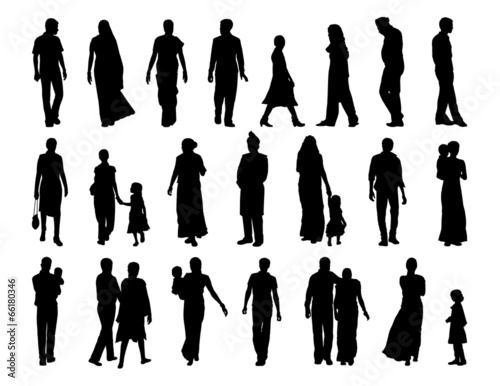 Photo  big set of indian people silhouettes