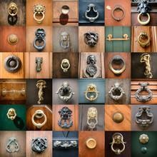 Doorknobs Of Ancient Doors In Rome, Collection Of Beautiful Vint