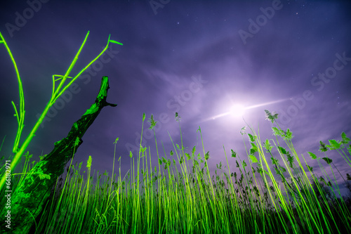 Foto op Canvas UFO UFO flying rays - night full moon landscape