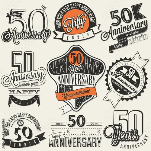 Fotografie, Tablou  Vintage style 50 anniversary collection.