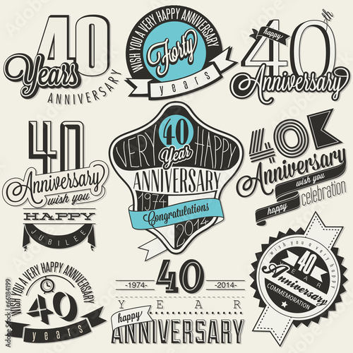 Poster  Vintage style 40 anniversary collection.