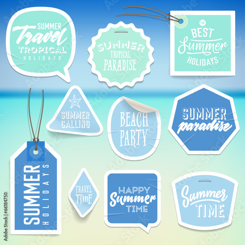 Fotografie, Obraz  Summer holiday vacation stickers and labels