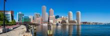 Boston Harbor And Financial District In Boston, Massachusetts.