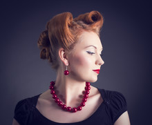 Styled Woman With Retro Golden Hair Style.