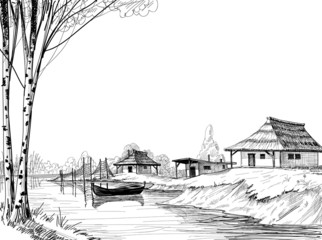 Naklejka Fishing village sketch