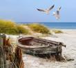 Leinwandbild Motiv altes Fischerboot, Möwen, Strand und Meer