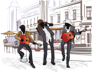Obraz na Szkle Do baru Series of street views with musicians