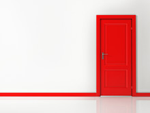 Red Door On White Wall, Reflec...
