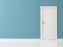 Closed White Door On Blue Wall, Reflective Floor