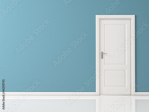 Fotografie, Obraz  Closed White Door on Blue Wall, Reflective Floor