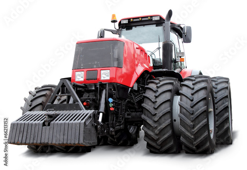 Red tractor isolated on a white background