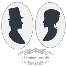 Vector Vintage Card Portraits With Woman And Man