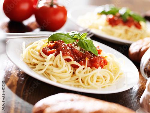 Fotografie, Obraz  italian spaghetti pasta with tomato sauce