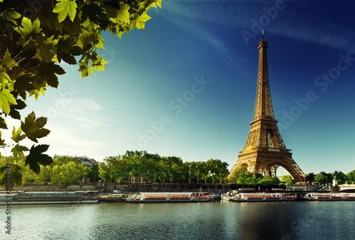 Deurstickers Eiffeltoren Seine in Paris with Eiffel tower