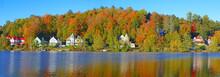 Fall Foliage And Reflection In Saranac Lake, New York