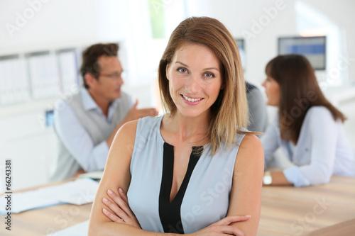 Fototapeta Portrait of beautiful woman attending business meeting obraz na płótnie