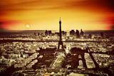 Paris, France at sunset. Aerial view on the Eiffel Tower - 66253162