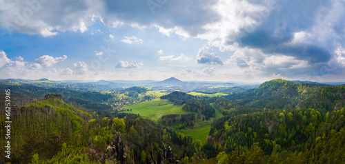 Foto op Canvas Bergen panorama of the hills of the mountains and forests