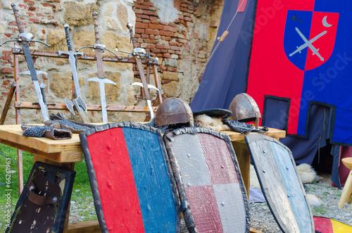 Staande foto Kinderkamer Medieval armour and fighting equipments