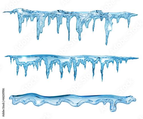 Fototapeta set of blue icicles