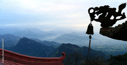 In de dag China Panoramic view of Qingcheng Mount, Sichuan province, China