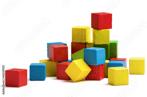 toy blocks heap, multicolor wooden bricks stack isolated