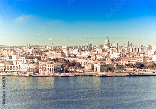 Staande foto Havana Havana. View of the old city,with a retro effect