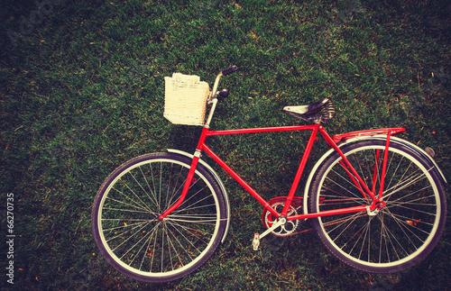 Deurstickers Fiets Vintage bicycle waiting on grass