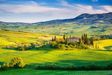 Panel Szklany Toskania Tuscany landscape at sunset